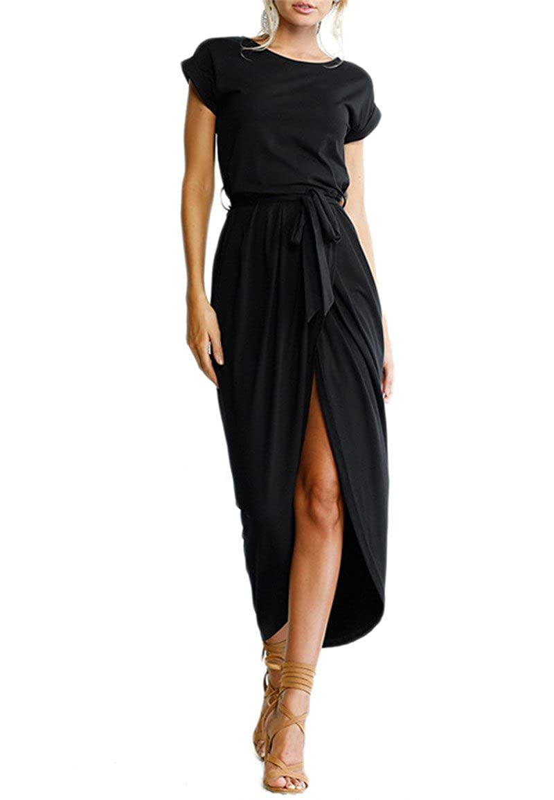 YMING Women Summer Casual High Waist Midi Dress Solid Color Wrap Faux Dress with Belt