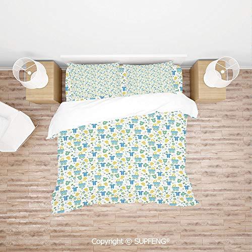 (SCOXIXI 4 Piece Bedding Retro Newborn Items Stroller Rubber Duck Milk Bottle Pin Pyjamas Pattern Decorative (Comforter Not Included) Soft, Breathable, Hypoallergenic, Fade Resistant)