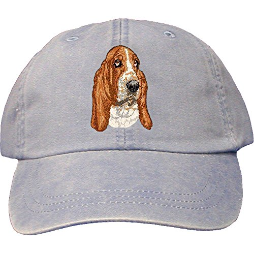 Cherrybrook Dog Breed Embroidered Adams Cotton Twill Caps - Periwinkle - Basset Hound