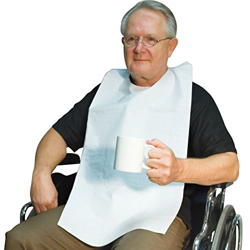 Disposable Adult Tie-Back Poly Bibs - 300 Pack - Protect Clothes from Spills