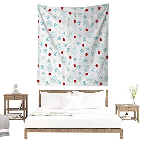 Room Tapestry,Ladybugs Decorations Collection,Ladybugs Flowers Summer Garden Insect Clipart Decorative Symmetry Image Print,Red B W40 x L60 inch Popular Tapesties