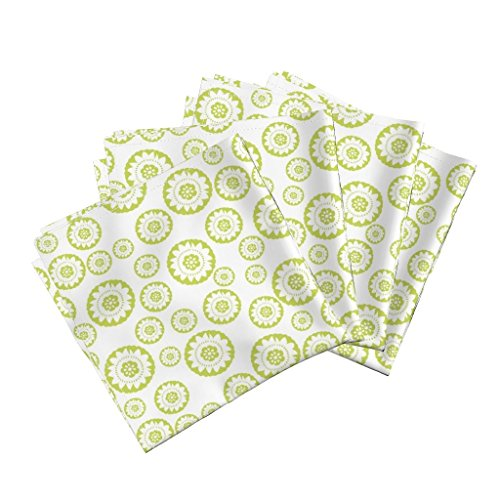 Medallion Lime (Roostery Lime Green Linen Cotton Dinner Napkins Lime Green Medallion Small by Crimsonpear Set of 4 Cotton Dinner Napkins Made)