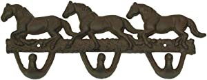 Cast Iron Horses Wall Hooks Rust Western Home Room Decor
