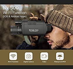 """Bestguarder Digital Night Vision Monocular with WiFi, HD Infrared IR Camera & Camcorder 3.5-10.5x32 1150ft /350M Viewing Range with 1.5"""" TFT LCD for Hunting"""