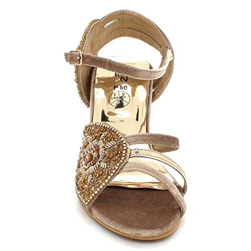 Soir Chaussures Dames Open De Taille de Mi Femmes Talon Toe Sandales Mariage Cristal Bal Fête mariée Or Diamante qwZFUdUXxt