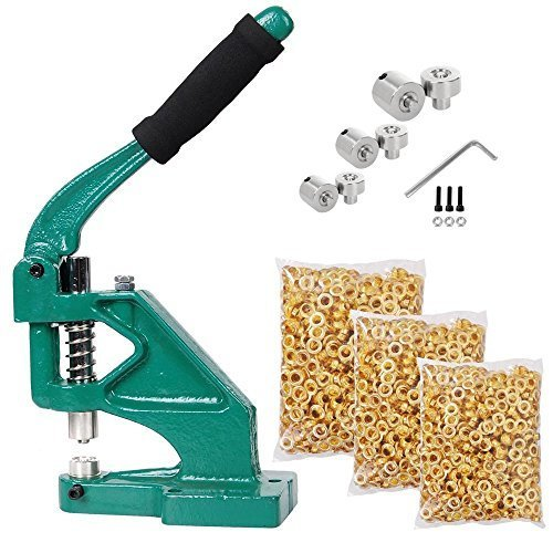 Yescom 3 Die (#0 #2 #4) Hand Press Grommet Machine and 900 Pcs Golden Grommets Eyelet Tool Kit by Yescom