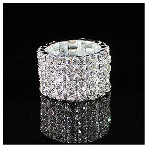 Womens Mens Ring New Top Fashion Channel Setting Party Classic Jewelry Stunning Multi Row Diamante Stretch Rings for Women 5row Resizable