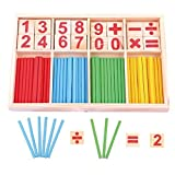learning math for kids - HugeStore Colorful Wooden Counting Sticks Rods with Box for Kids Toddlers Math Educational Learning Tools