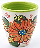 Art Escudellers Ceramic WINE CUP, handmade and handpainted in flower decoration. 2,95' x 2,95' x 3,15' (GREEN)