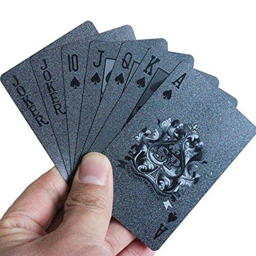 Black Diamond Laser - Black Playing Cards - Table Games Tools Waterproof Magic Diamond Laser Pattern Matte Poker Card 54pcs/Set
