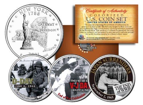 - WORLD WAR II 3-Coin Set NY Statehood US Quarters * D-DAY * V-J DAY * End of WWII