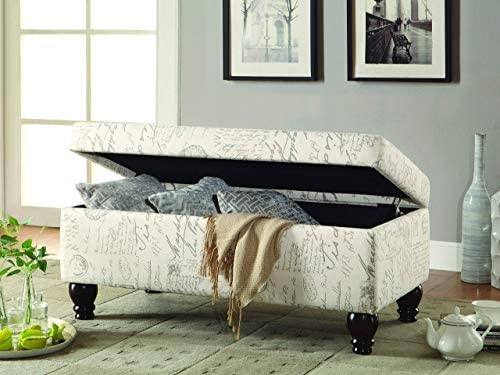 French Script Storage Bench Off White and Grey