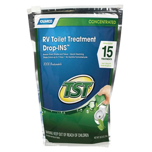 Camco TST Ultra-Concentrated Fresh Scent RV Toilet Treatment Drop-Ins, Formaldehyde Free, Breaks Down Waste And Tissue, Septic Tank Safe, Treats up to 15 - 40 Gallon Holding Tanks (15-Pack)