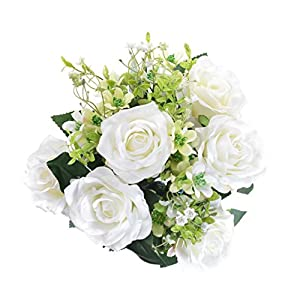 """Artificial 17"""" Rose Flower Bouquet 12 Heads Flowers for Home Party Decorations Wedding Favors 6 Rose Flower and 6 Buds - White 73"""
