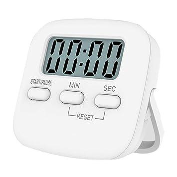 Reloj digital de cocina con temporizador de cocina, temporizador de cocción, cuenta atrás, pantalla LCD grande, alarma fuerte, color blanco: Amazon.es: ...