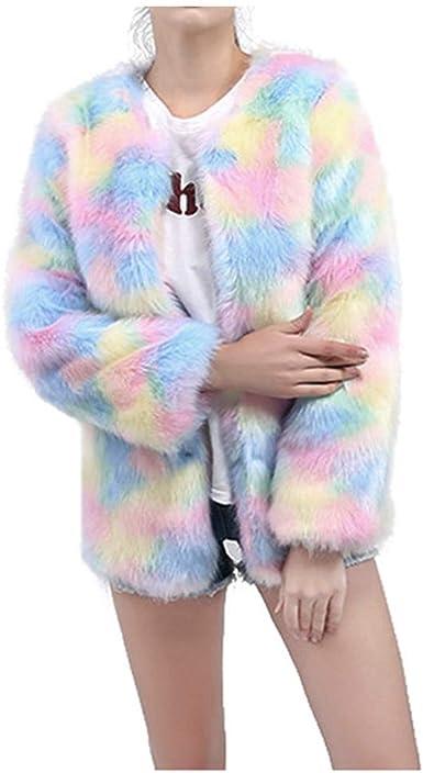 Womens Fluffy Faux Fur Coat Shaggy Jacket Knitted Cardigan Outwear Tassels Tops