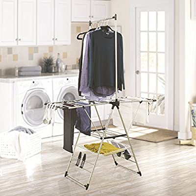 DRYING RACKS FOR LAUNDRY CLOTHING RACK - HEAVYWEIGHT GULLWING STYLE;  in Stainless Steel by Inspired Living -  - laundry-room, entryway-laundry-room, drying-racks - 51F1etRldQL. SS400  -