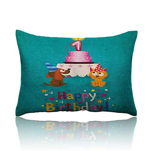 Anyangeight 1st Birthday Throw Pillowcase Toddler Kids Party Cute Cat and Dog with Hats Cake on Petrol Blue Backdrop Cold Pillowcase 18