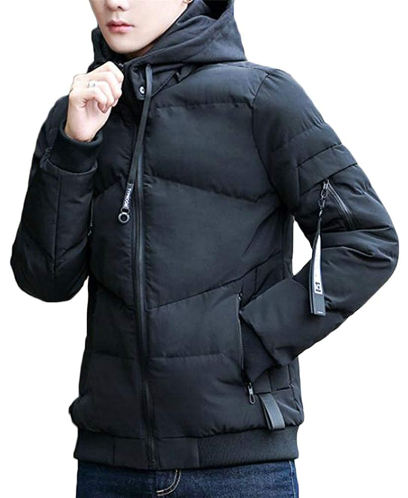 Blyent Mens Quilted Zipper Thicken Hoodid Pocket Warm Jacket Parka Coat