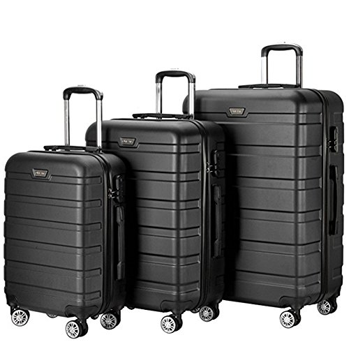 3 Pieces Hardside Spinner Luggage Sets ABS Travel Lightweight Carry On Suitcase (20