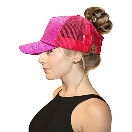 C.C Ponytail Ponytail Hats - Messy High Bun Mesh Adjustable Trucker Glitter Baseball Cap Dad Cap