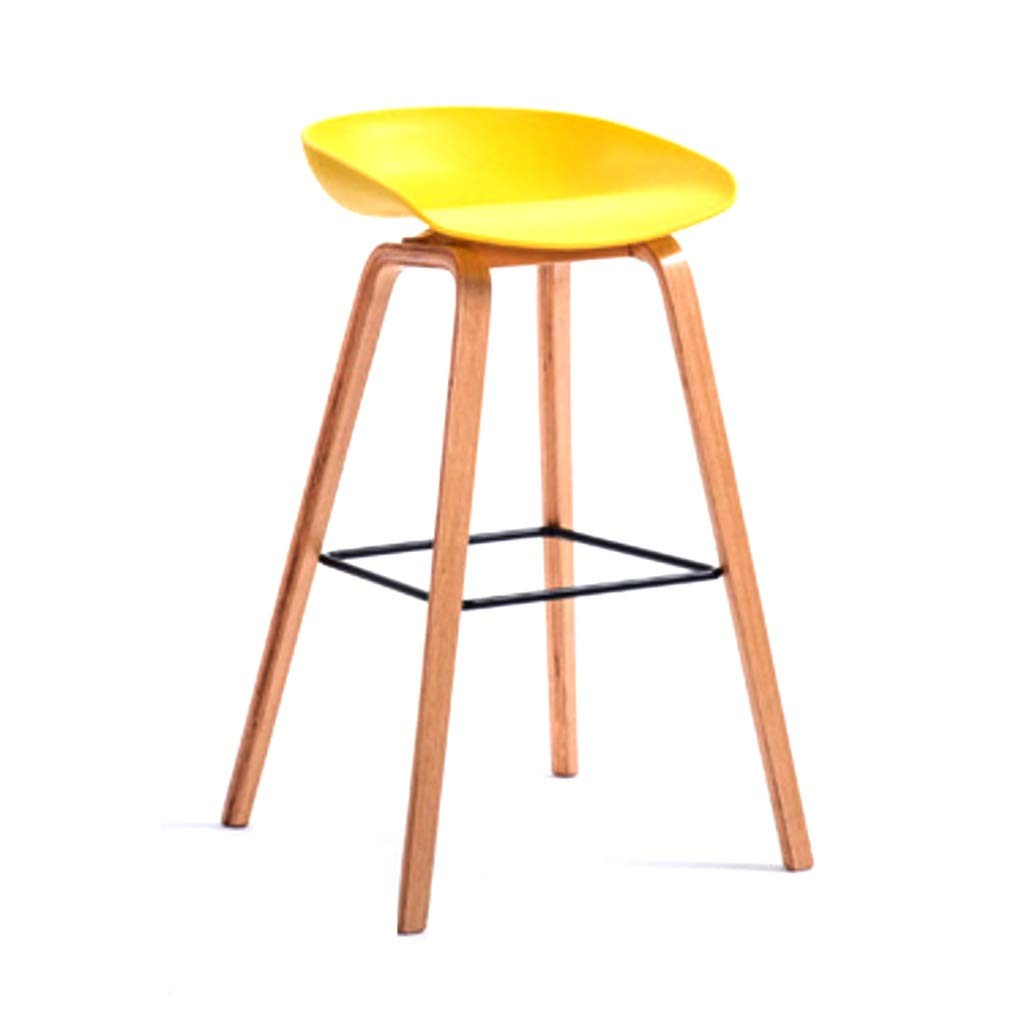 Yellow 75CM Simple Solid Wood Bar Chair Creative Bar Chair European Bar Stool PVC Bar Chair Simple Retro Bar Stool High Stool for Kitchen Or Bar (color   Yellow, Size   75CM)