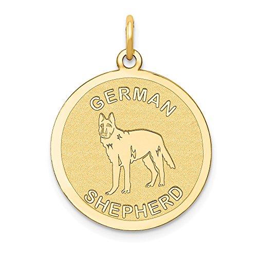 14k German Shepherd Disc Charm, 14 kt Yellow -
