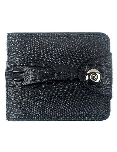 POPUCT Men's Alligator Embossed Wallet(Black-1)