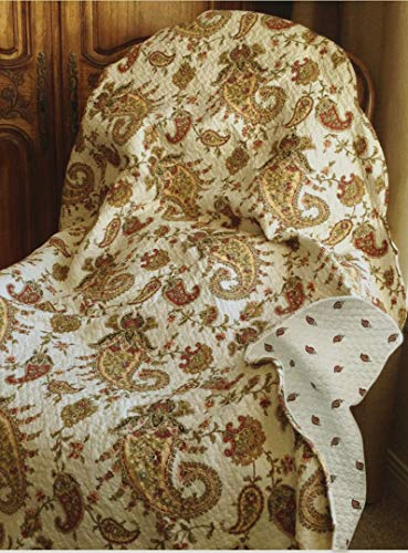 Cozy Line Home Fashions Peace of Mind Burgundy Gold Paisley Print Reversible 100% Cotton Quilted Throw Blanket 60