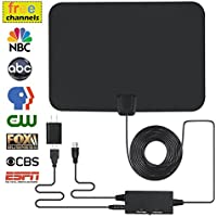 Digital TV Antenna, Indoor Amplified HDTV Antenna 60 Mile Range with Integrated Amplifier Signal Booster (Built-in Short/Long Range Switch), USB Power Supply 16.5Feet High Performance Coax Cable
