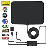 Digital TV Antenna, Indoor Amplified HDTV Antenna 60 Miles Range with Integrated Amplifier Signal Booster (Built-in Short/Long Range Switch), USB Powered 16.5Ft Coax Cable - 4K/HD/VHF/UHF Freeview