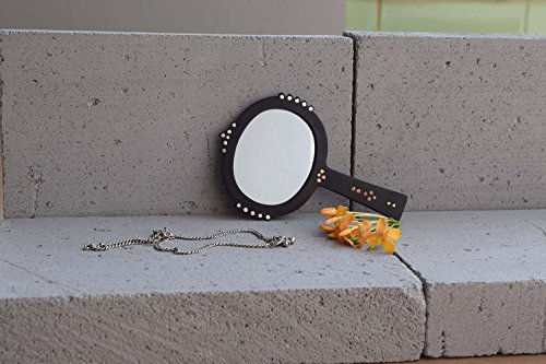 Bejewel Bidri Hand Mirror - Oval with Copper And Silver Inlay Work -