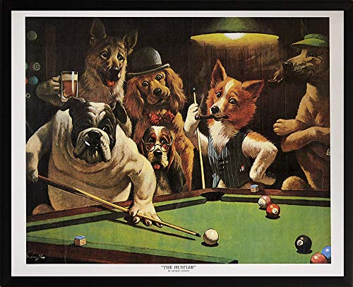 Framed Playing Pool Dogs (artworkforless.com The Hustler by Arthur Sarnoff Framed Picture Dogs Playing Pool, Finished Size: 23x19)