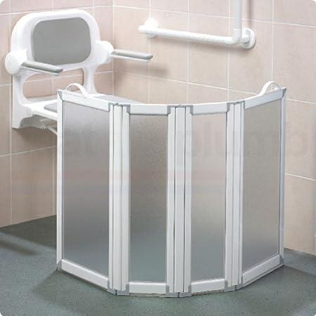 AKW - Mampara de ducha portátil con 4 paneles de ducha PMR, 90 cm: Amazon.es: Hogar