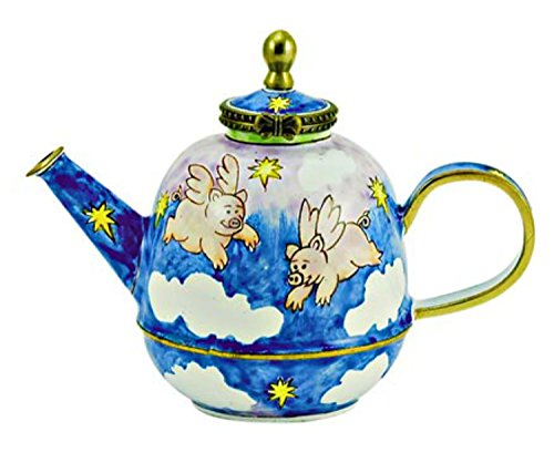 Pigs with Wings Flying in Clouds Enameled Hinged Miniature Teapot