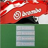 R&G Brembo HIGH TEMP Brake Caliper Sticker Set of 4 Decals (White)