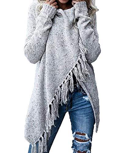 Saoye Fashion Femme Veste en Tricot lgant Mode Manteau en Tricot Automne Rayures Houppe Manches Longues Irrgulier Button Vtements Bouffant Cardigan Confortable Loisir Pulli Blanc