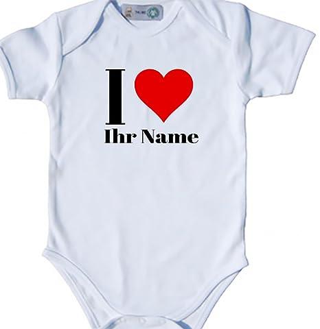Baby Body bio Body Suit corta para I Love (Corazón) Nombre Personalizado Pelele negro