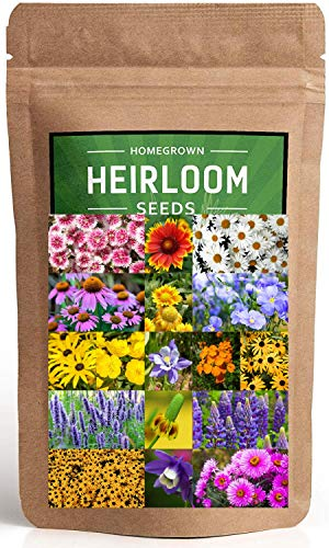 (Wildflower Seeds - Flower Seed Pack [17 Variety] - Perennial Flower Seeds for Attracting Birds & Butterflies - Flower Seeds for Planting Outdoor - Non GMO, Open Pollinated - Flower Garden Seeds)