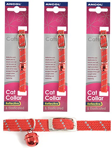 3-x-Saver-Ancol-Collier-rflchissant-pour-chat-Rouge-rflchissant