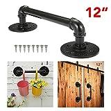 KINGSO 12'' Industrial Retro Cast Iron Pipe Door Handle Pipe Door Pull Towel Bar Iron Handrail Steampunk Pipe Drawer Bar Cupboard Door Pulls Door Knobs Black