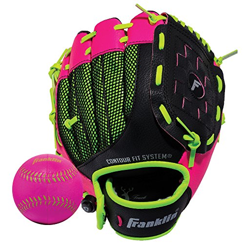 Franklin Sports Teeball Glove - Left and Right Handed Youth Fielding Glove - Neo-Grip - Synthetic Leather Baseball Glove - 9.0 Inch Right Hand Throw - Ready To Play Glove with Ball - Pink