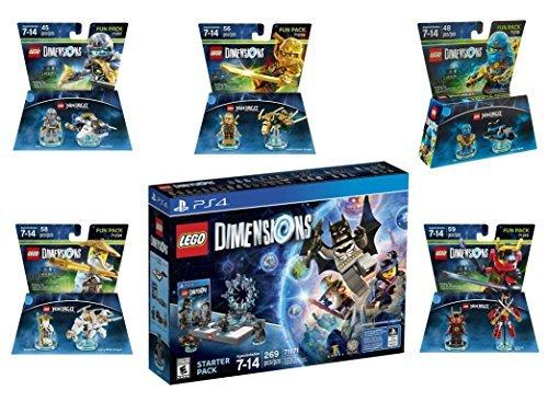 Lego Dimensions Ninjago Starter Pack + Jay + LLoyd + Nya + Zane + Sensei Wu Fun Packs for Playstation 4 or PS4 Pro Console
