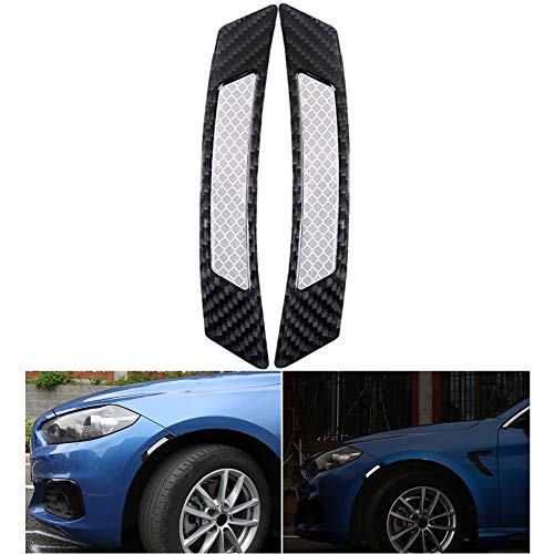 Reflective Tape Carbon Fiber Pattern Self-Adhesive Glossy Caution Warning Safety Reflector Strips Sticker Fluorescent for Automobile Car Wheel Fender Eyebrow Pickup Truck SUV RV , 2 pcs (Gray/Black)