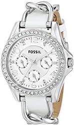 Fossil Women's ES3463 Riley Analog Display Analog Quartz White Watch