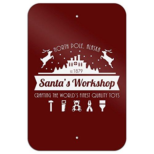 Santa's Workshop Logo Christmas Toys North Pole Alaska Home Business Office Sign - Metal - 6