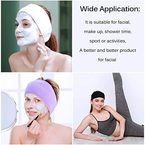 Aniwon 8 Pack Spa Headband Hair Wrap Sweat Headband Head Wrap Hair Towel Wrap Non-slip Stretchable Washable Makeup Headband for Face Wash Facial Treatment Sport