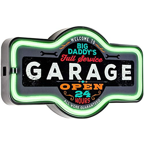 American Art Decor Big Daddy's Garage Marquee Shaped LED Light Up Sign Wall Decor for Man Cave Bar Garage