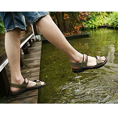 Zapatos para Abierta Zapatos Ajustables Cuero cómodos Deportes Exterior con y Hombres para Punta Green Ocio de de Interior Sandalias Antideslizantes adecuados rxwXrq4Y