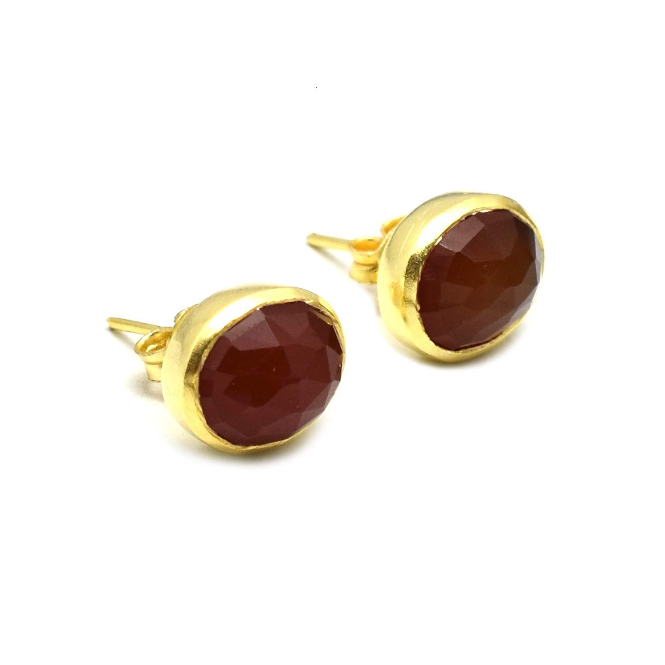 The V Collection earrings yellow gold plated carnelian stud earrings for women and girl wear